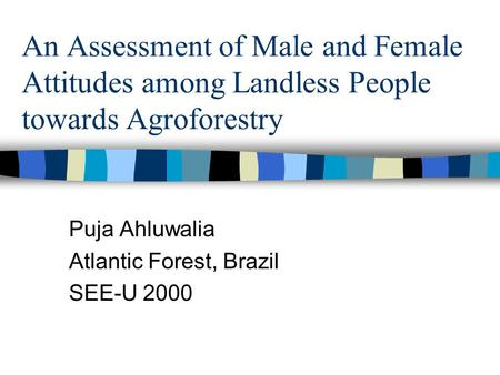 An Assessment of Male and Female Attitudes among Landless People towards Agroforestry Puja Ahluwalia Atlantic Forest, Brazil SEE-U 2000.
