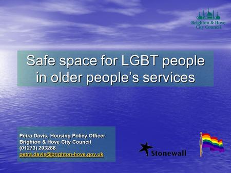 Safe space for LGBT people in older people's services Petra Davis, Housing Policy Officer Brighton & Hove City Council (01273) 293288