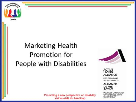 Marketing Health Promotion for People with Disabilities.