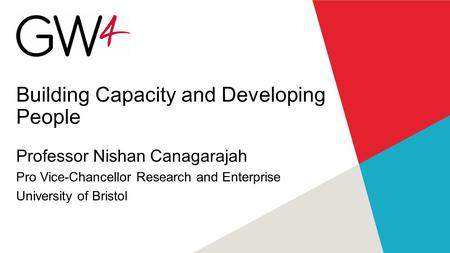 Building Capacity and Developing People Professor Nishan Canagarajah Pro Vice-Chancellor Research and Enterprise University of Bristol.