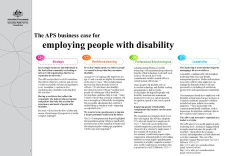 Leadership Our leadership is tested and developed by managing a diverse workforce. A disability-confident APS will strengthen leadership behaviours and.