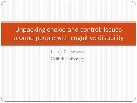 Lesley Chenoweth Griffith University