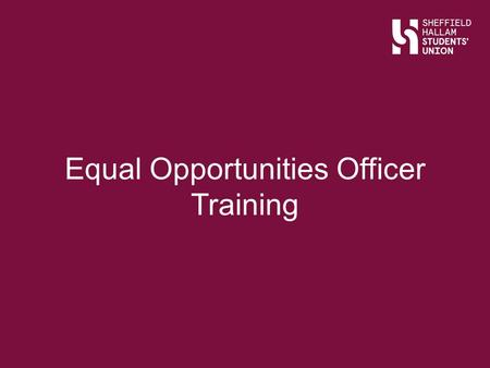 Equal Opportunities Officer Training. Sports Equity is about fairness in sport, equality of access, recognising inequalities and taking steps to address.