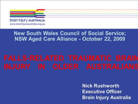 FALLS-RELATED TRAUMATIC BRAIN INJURY IN OLDER AUSTRALIANS