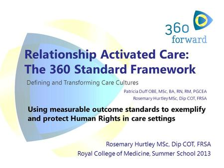 Relationship Activated Care: The 360 Standard Framework Defining and Transforming Care Cultures Patricia Duff OBE, MSc, BA, RN, RM, PGCEA Rosemary Hurtley.
