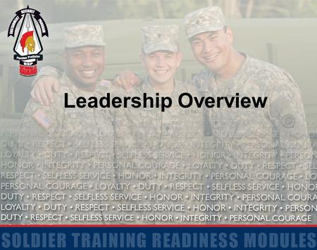 Leadership Overview. 2 Terminal Learning Objective Action: Understand basic concepts of Army Leadership Conditions: In a classroom and garrison environment.