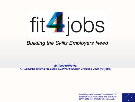 Building the Skills Employers Need Funded by the European Commission, DG Employment, Social Affairs and Inclusion - VP2013/010 ICT Skills for Growth &