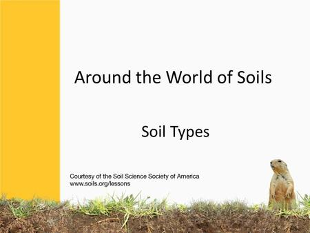 Around the World of Soils Soil Types. 12 Soil Orders.