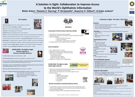 A Solution in Sight: Collaboration to Improve Access to the World's Ophthalmic Information Bette Anton¹, Pamela C. Sieving², P. Kirubanithi³, Suzanne S.