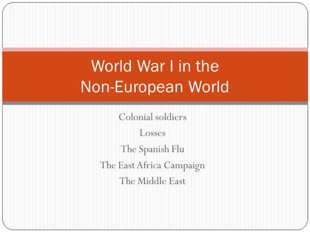 Colonial soldiers Losses The Spanish Flu The East Africa Campaign The Middle East World War I in the Non-European World.