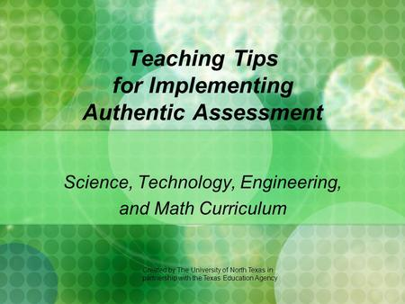 Teaching Tips for Implementing Authentic Assessment