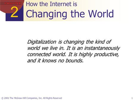 2 C H A P T E R © 2001 The McGraw-Hill Companies, Inc. All Rights Reserved1 How the Internet is Changing the World Digitalization is changing the kind.