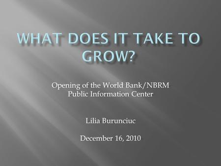 Opening of the World Bank/NBRM Public Information Center Lilia Burunciuc December 16, 2010.
