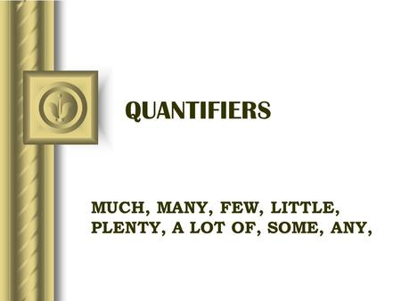 QUANTIFIERS MUCH, MANY, FEW, LITTLE, PLENTY, A LOT OF, SOME, ANY,