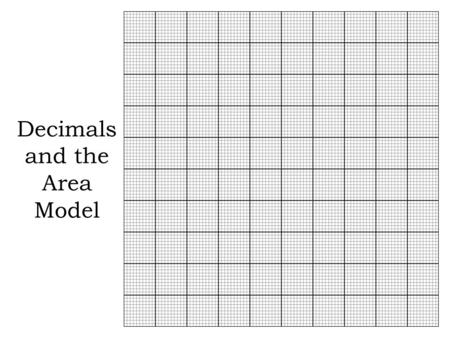Decimals and the Area Model. Decimals are fractions written in a different form. They represent a part of the whole.