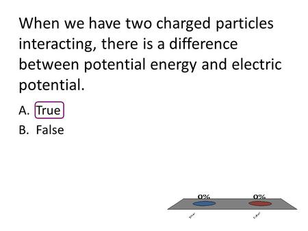 When we have two charged particles interacting, there is a difference between potential energy and electric potential. A.True B.False.