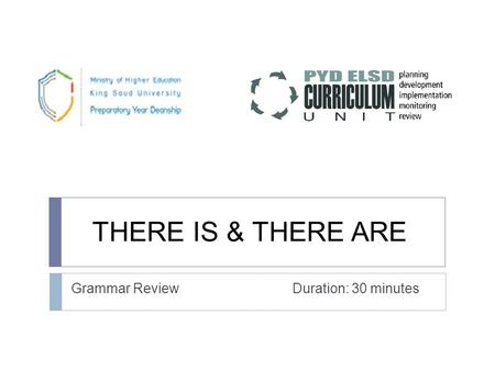 THERE IS & THERE ARE Grammar Review Duration: 30 minutes.