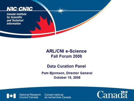 ARL/CNI e-Science Fall Forum 2008 Data Curation Panel Pam Bjornson, Director General October 15, 2008.