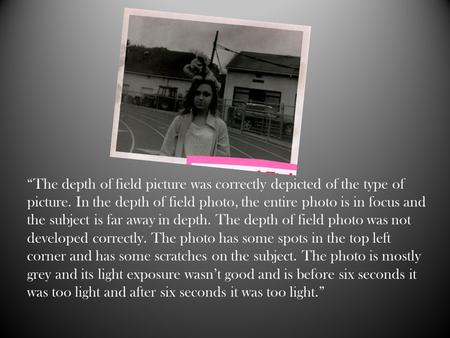 """The depth of field picture was correctly depicted of the type of picture. In the depth of field photo, the entire photo is in focus and the subject is."