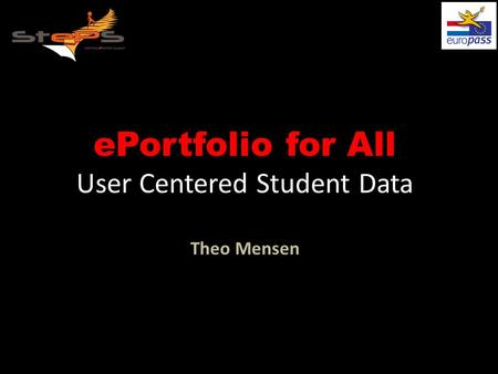 EPortfolio for All User Centered Student Data Theo Mensen.