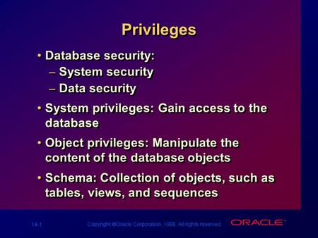 14-1 Copyright  Oracle Corporation, 1998. All rights reserved. Privileges Database security: – System security – Data security System privileges: Gain.