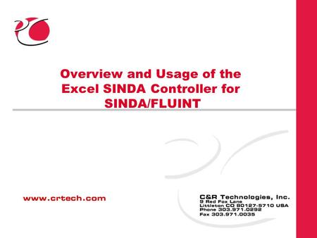 Overview and Usage of the Excel SINDA Controller for SINDA/FLUINT.