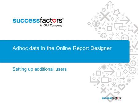 Adhoc data in the Online Report Designer Setting up additional users.