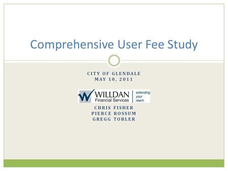 Comprehensive User Fee Study