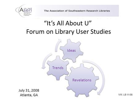 """It's All About U"" Forum on Library User Studies Revelations Trends Ideas July 31, 2008 Atlanta, GA VW, LB 11/08."