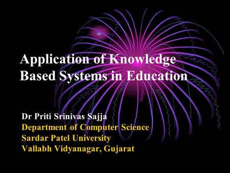 Application of Knowledge Based Systems in Education