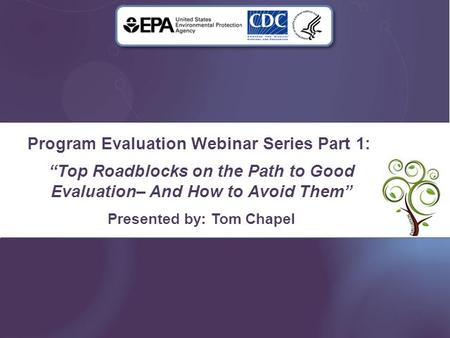 "Program Evaluation Webinar Series Part 1: ""Top Roadblocks on the Path to Good Evaluation– And How to Avoid Them"" Presented by: Tom Chapel."