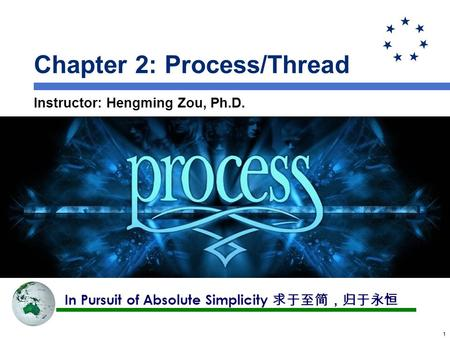 11 Chapter 2: Process/Thread Instructor: Hengming Zou, Ph.D. In Pursuit of Absolute Simplicity 求于至简,归于永恒.