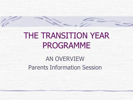 THE TRANSITION YEAR PROGRAMME AN OVERVIEW Parents Information Session.
