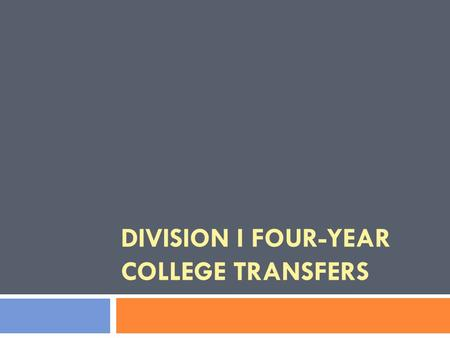 DIVISION I FOUR-YEAR COLLEGE TRANSFERS. Learning Objectives 2  Recognize and apply appropriate 4-4 transfer legislation;  Display ability to apply permission-to-contact.