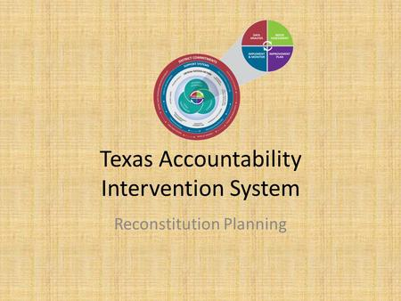 Texas Accountability Intervention System Reconstitution Planning.