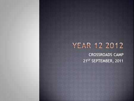CROSSROADS CAMP 21 ST SEPTEMBER, 2011.  Year 11 is a Preliminary Year. Take five minutes to write down  What you have learned to do this year in terms.