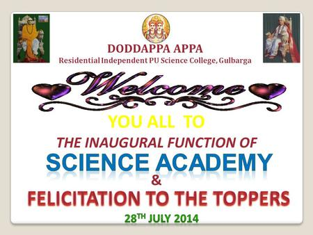 SCIENCE ACADEMY FELICITATION TO THE TOPPERS YOU ALL TO