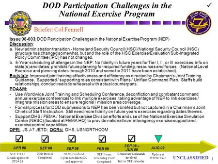 UN UNCLASSIFIED 1 DOD Participation Challenges in the National Exercise Program Issue 08-003: DOD Participation Challenges in the National Exercise Program.
