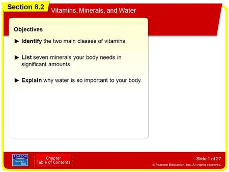 Section 8.2 Vitamins, Minerals, and Water Objectives