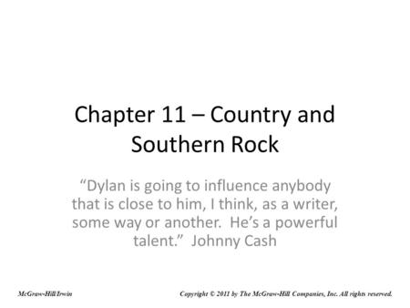 Chapter 11 – Country and Southern Rock