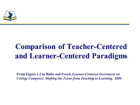 Comparison of Teacher-Centered and Learner-Centered Paradigms From Figure 1-2 in Huba and Freed, Learner-Centered Assessment on College Campuses: Shifting.