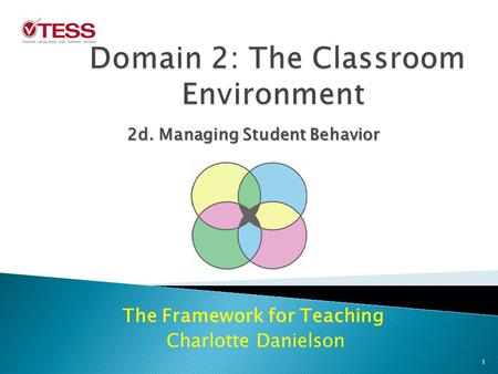 The Framework for Teaching Charlotte Danielson 2d. Managing Student Behavior 1.