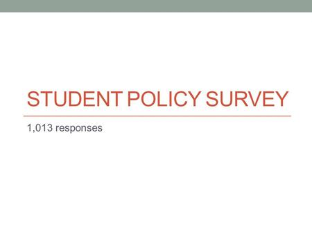 STUDENT POLICY SURVEY 1,013 responses. Demographics.