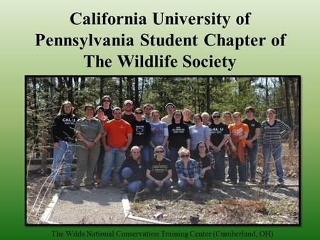 California University of Pennsylvania Student Chapter of The Wildlife Society The Wilds National Conservation Training Center (Cumberland, OH)