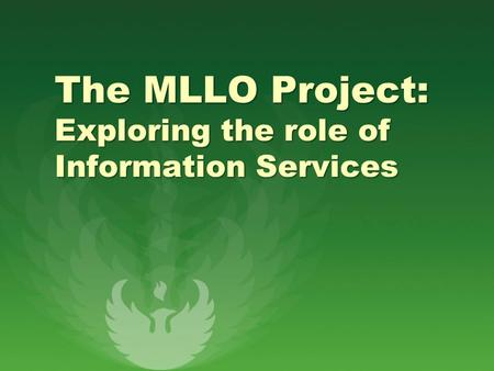 The MLLO Project: Exploring the role of Information Services.