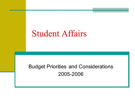 Student Affairs Budget Priorities and Considerations 2005-2006.