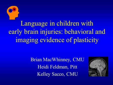 Language in children with early brain injuries: behavioral and imaging evidence of plasticity Brian MacWhinney, CMU Heidi Feldman, Pitt Kelley Sacco, CMU.