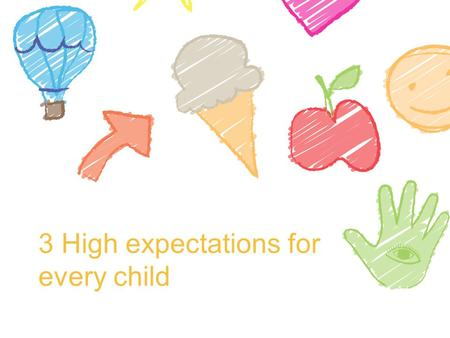 3 High expectations for every child. High expectations Recognising that every child has the ability to learn and develop Having high expectations is especially.