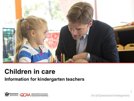 Children in care Information for kindergarten teachers 14867.