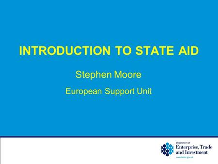 INTRODUCTION TO STATE AID